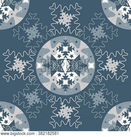 Pattern Mandala Of Stars And Puzzle Pieces Style. Blue, White And Grey. Seamless Pattern Christmas T