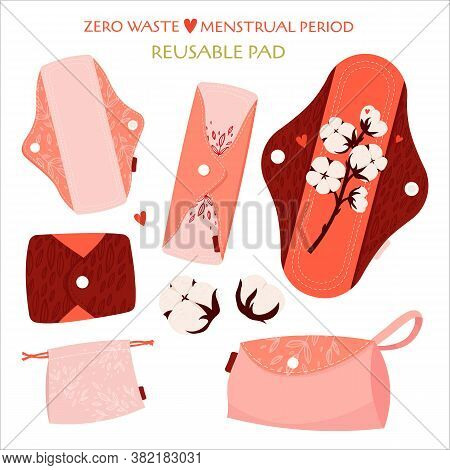 Zero Waste Menstrual Period. Vector Flat Set With Eco Friendly Products - Reusable Menstrual Pads, C