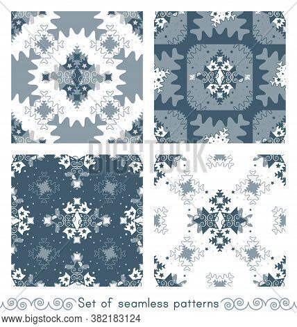 Set Of Seamless Patterns Christmas Theme. Pattern Of Stars And Puzzle Pieces Style. Vector Illustrat