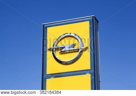 Risskov, Denmark - May 11, 2019: Opel Logo On A Panel. Opel Is A German Automobile Manufacturer Head