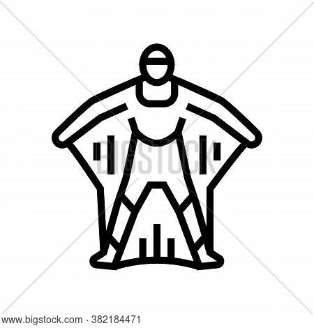 Wingsuit Active Extreme Sportsman Line Icon Vector. Wingsuit Active Extreme Sportsman Sign. Isolated