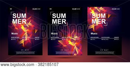 Music Poster Templates For Bass Electronic Music. Club Banner Design. Night Sound Event. Shining Geo