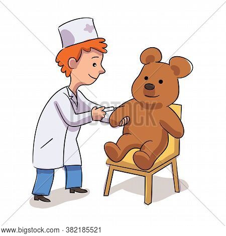 Little Cute Boy Doctor Character In White Coat Uniform Doing Injection To Teddy Bear. Kid With Syrin