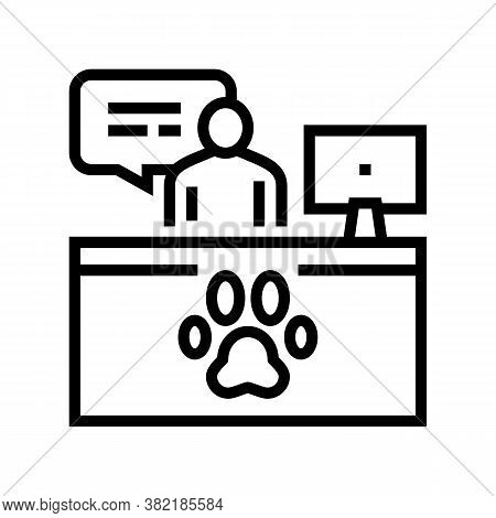 Pet Shelter Worker Workspace Line Icon Vector. Pet Shelter Worker Workspace Sign. Isolated Contour S