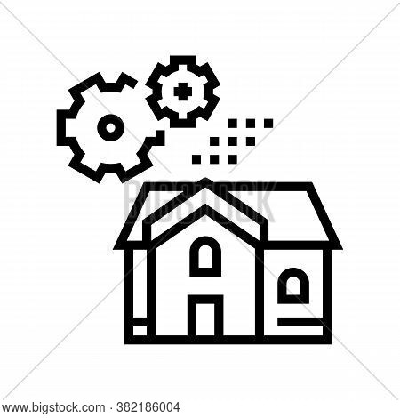 House Mechanical Gears Line Icon Vector. House Mechanical Gears Sign. Isolated Contour Symbol Black