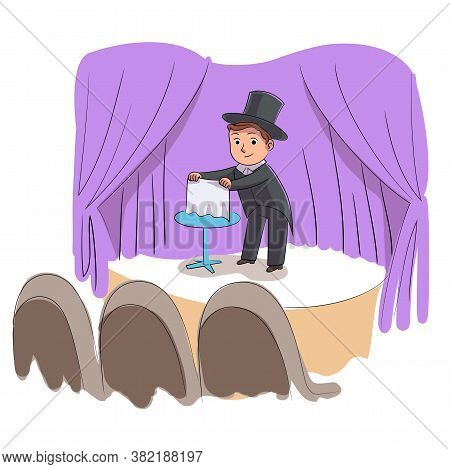 Kid Talent Show. Boy Illusionist Shows Tricks Or Focus. Little Magician Performs On Festival Stage.