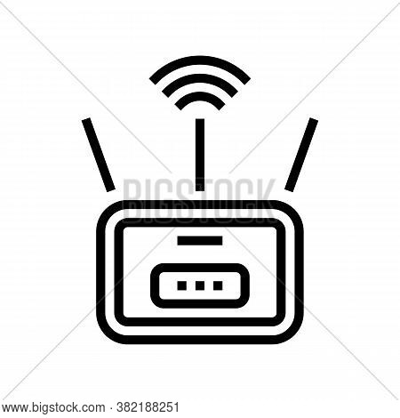 Wifi Router Line Icon Vector. Wifi Router Sign. Isolated Contour Symbol Black Illustration