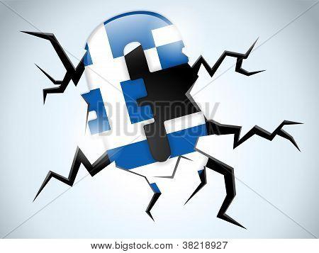 Euro Money Crisis Greece Flag Crack On The Floor
