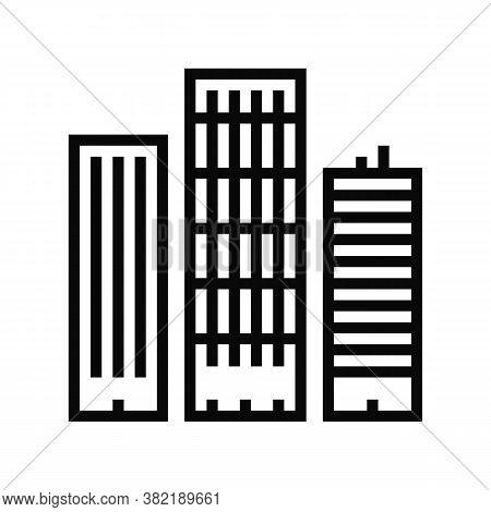 Skyscraper Buildings Line Icon Vector. Skyscraper Buildings Sign. Isolated Contour Symbol Black Illu