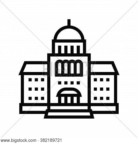 Courthouse Building Line Icon Vector. Courthouse Building Sign. Isolated Contour Symbol Black Illust
