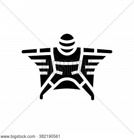 Flying Wingsuit Sportsman Glyph Icon Vector. Flying Wingsuit Sportsman Sign. Isolated Contour Symbol