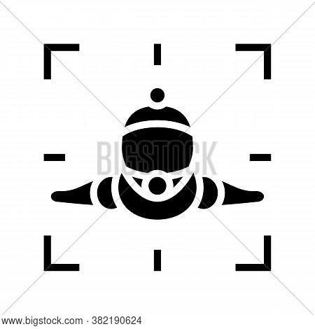 Wingsuit Sportsman Make Video Glyph Icon Vector. Wingsuit Sportsman Make Video Sign. Isolated Contou