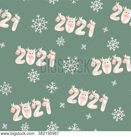 Original Greeting Pattern For New Year Banners. 2021 New Year Concept. Seamless Pattern Of Numbers 2