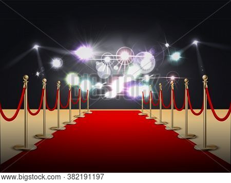 Red Carpet Colored And Realistic Composition With Flashlights At The End Of The Carpet Vector Illust
