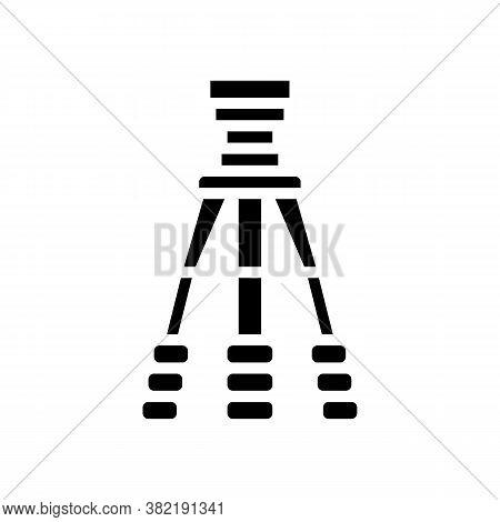 Tripod For Photo Camera Glyph Icon Vector. Tripod For Photo Camera Sign. Isolated Contour Symbol Bla