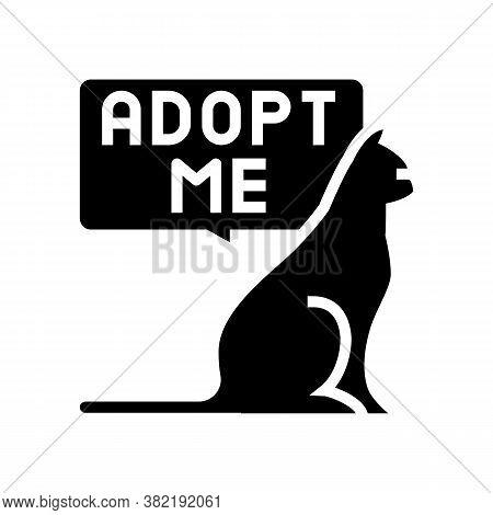 Cat Talk Adopt Me Glyph Icon Vector. Cat Talk Adopt Me Sign. Isolated Contour Symbol Black Illustrat