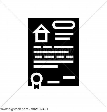 House Buy Agreement Glyph Icon Vector. House Buy Agreement Sign. Isolated Contour Symbol Black Illus