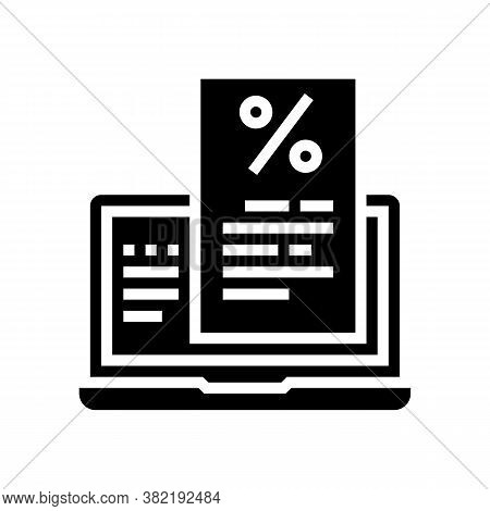 Internet Mortgage Payment Advice Glyph Icon Vector. Internet Mortgage Payment Advice Sign. Isolated