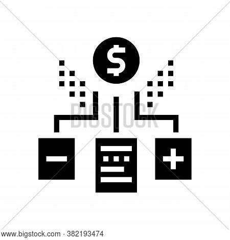 Financial Agreement Advantages And Disadvantages Glyph Icon Vector. Financial Agreement Advantages A