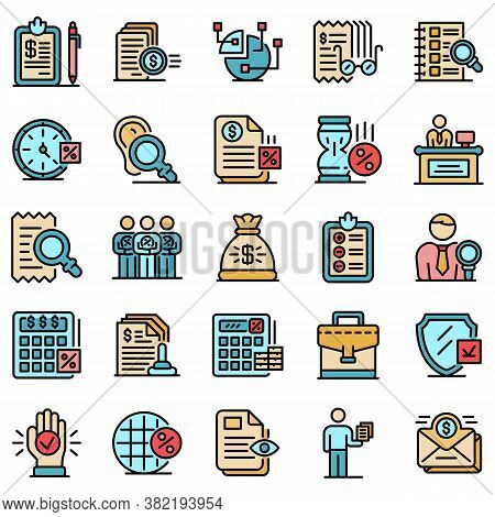 Tax Inspector Icons Set. Outline Set Of Tax Inspector Vector Icons Thin Line Color Flat On White