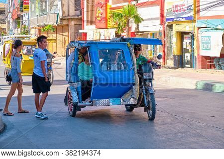 Boracay, Philippines - Jan 22, 2020: Public Transport On Boracay Island. The Tricycle Carries Passen