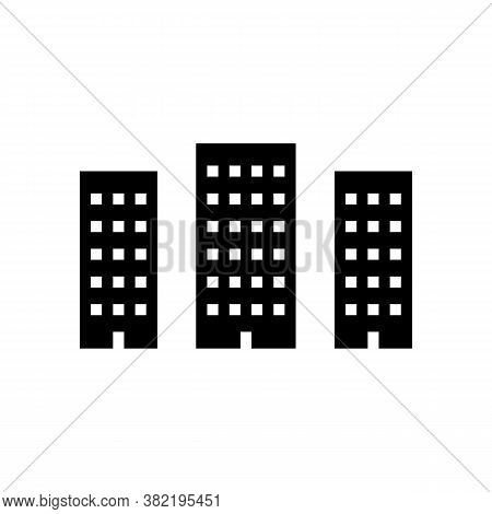City High Buildings Glyph Icon Vector. City High Buildings Sign. Isolated Contour Symbol Black Illus