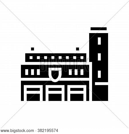 Fire Department Building Glyph Icon Vector. Fire Department Building Sign. Isolated Contour Symbol B