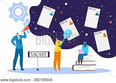 Resume For Business People Work, Human Recruitment And Search Job Concept Vector Illustration. Candi