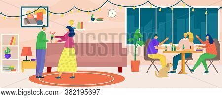 House Party, Vector Illustration. Flat Man Woman People Character At Cartoon Home Together, Young Fr