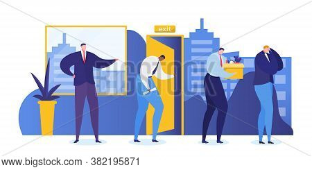 Job Loss People Vector Illustration. Boss Dismissed Sad Man Work, Crisis Professional Career Manager