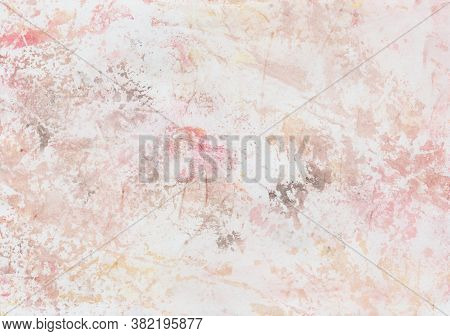 Hand Painted Watercolor Foil Printing In Red, Yellow, Brown And Black