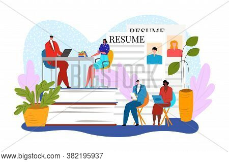 Job Interview With Resume, Recruitment At Business Work Vector Illustration. Employee Career Concept
