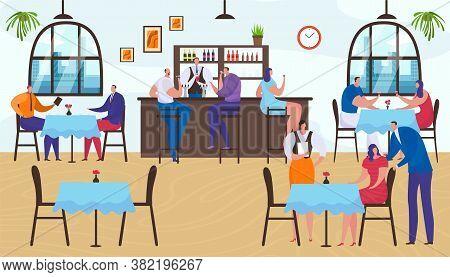 Restaurant Interior, People Group Man Woman Sitting In Bar, Cartoon Lifestyle Vector Illustration. P