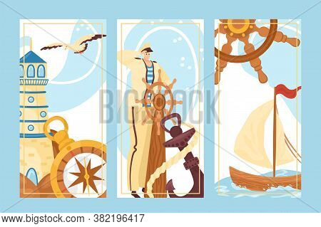 Marine Concept, Sailor At Sea, Lighthouse Vector Illustration. Cartoon Man Captain Character With Wh