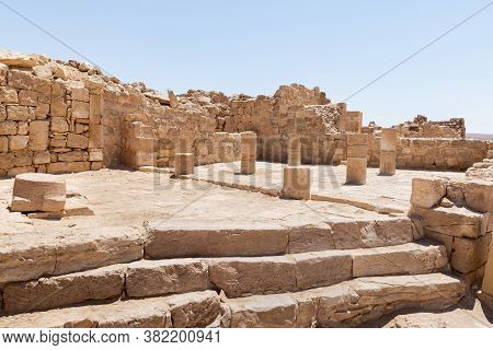 Remains Of A Mosque In Ruins Of Shivta - A National Park In Southern Israel, Includes The Ruins Of A