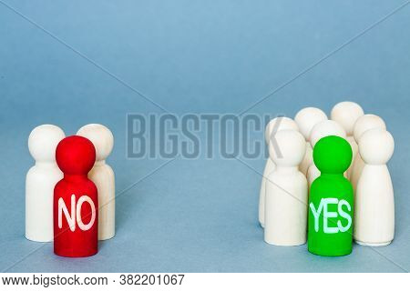 A Voting Concept With Groups Of Voters And People Deciding To Vote Yes Or No In An Election Or Ballo