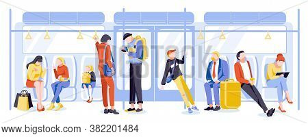 Passengers In Subway Train. People Activities At Public Transport. Commuters Using Their Mobile Devi
