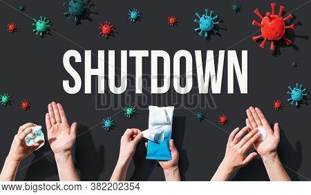 Shutdown Coronavirus Theme With Hygiene And Viral Objects
