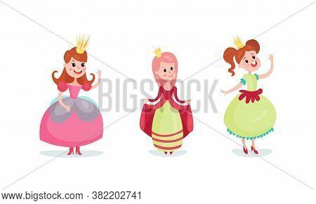 Smiling Girl Princess Wearing Crown And Dressy Look Garment Vector Illustration Set