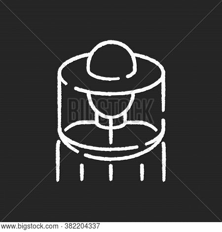 Beekeeper Suit Chalk White Icon On Black Background. Professional Apiarist Protective Workwear. Beek