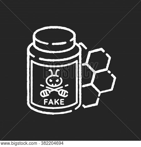 Fake Honey Chalk White Icon On Black Background. Artificial Food, Synthetic Bee Product. Sweet Desse