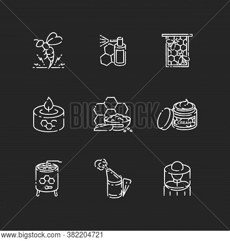 Diy Beekeeping Chalk White Icons Set On Black Background. Homemade Apiculture. Natural Honey Making.
