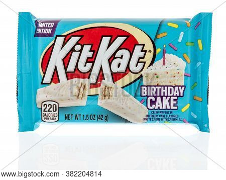 Winneconne , Wi - 20 August 2020:  A Package Of Kit Kat Birthday Cake Crisp Wafers On An Isolated Ba