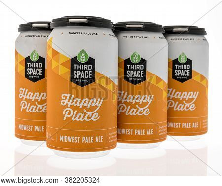 Winneconne , Wi - 23 August 2020:  A Six Pack Of Third Space Happy Place Midwest Pale Ale On An Isol
