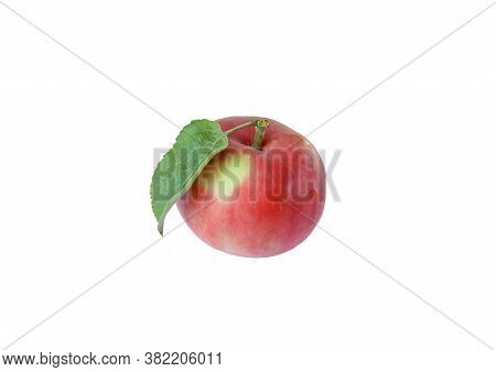 Ripe Red Apple On An Isolated White Background.