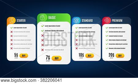 Timer, Search And Augmented Reality Line Icons Set. Pricing Table, Subscription Plan. Creative Desig