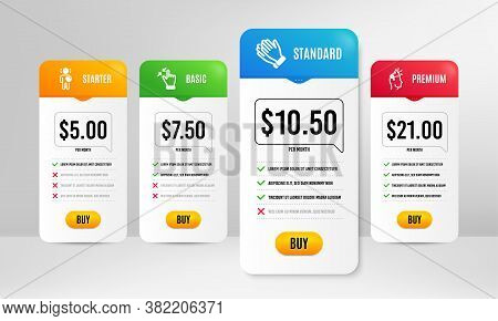 Clapping Hands, Friend And Touchscreen Gesture Icons Simple Set. Price Table Template. Brand Ambassa