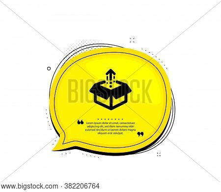 Send Box Icon. Quote Speech Bubble. Open Delivery Parcel Sign. Cargo Package Symbol. Quotation Marks