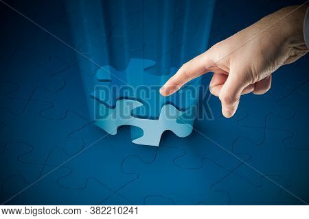 The Last Piece Of Puzzle - Completing Puzzle Concept, Symbol Of Completing Business Team.