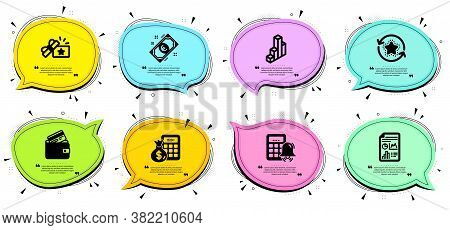 Debit Card, Finance Calculator And Calculator Alarm Signs. Chat Bubbles With Quotes. Loyalty Gift, 3